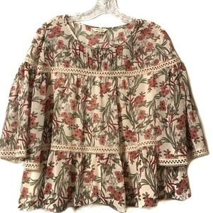 Max Studio blouse floral lace bell sleeve small
